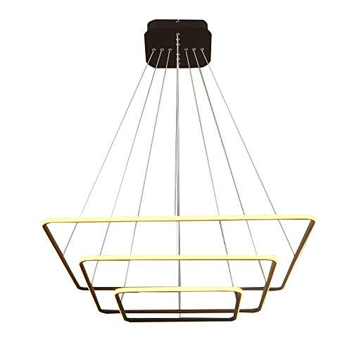 - ROYAL PEARL Modern Square Led Chandelier Adjustable Hanging Light Three Ring Collection Contemporary Ceiling Pendant Light H47