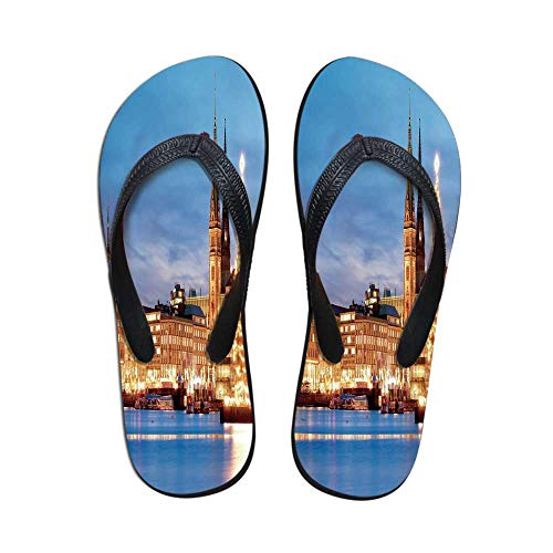 Winter Custom Flip Flops,Hamburg Germany Old Town Hall with Christmas Tree Evening Historical Architecture Decorative for Beach & Swimming Pool,US Size 9 ()