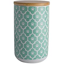 """Bone Dry DII Ceramic Pet Treat Storage Canister with Air Tight Lid 4""""(Dia) x 6.5"""" (H), Perfect Food and Treat Jar for Dogs and Cats-Aqua Paw Lattice"""