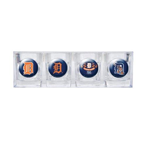 MLB Detroit Tigers Four Piece Square Shot Glass Set (Individual Logos)