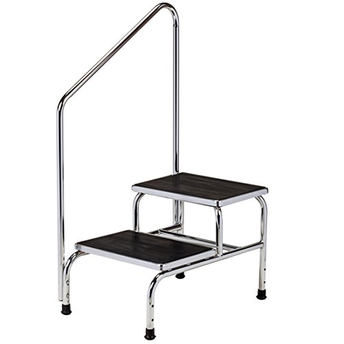 Clinton Chrome Two-Step Step Stool with Handrail