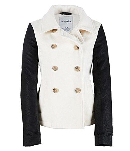 Aeropostale Womens Leather Sleeve Coat