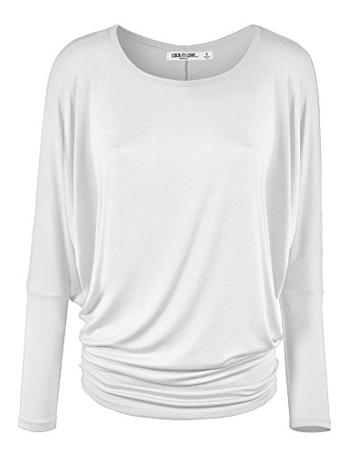 WT826 Womens Batwing Long Sleeve Top XL White
