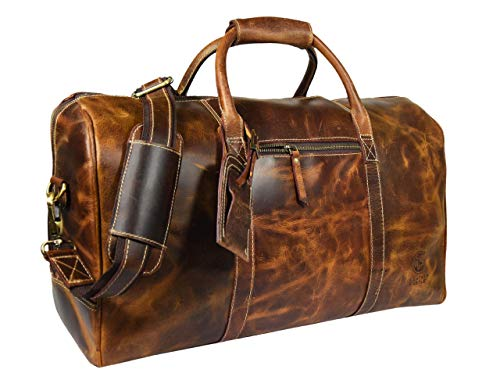 Leather Castle Genuine Vintage Men's Duffel Sports Gym, Travel, Carry-on Luggage Bag, Light Brown