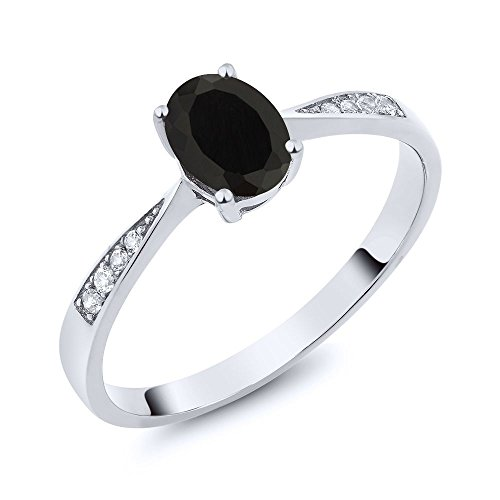 10K White Gold Oval Black Onyx and Diamond Women's Ring (0.86 Ctw Available in size 5,6,7,8,9) Diamond Solid Gold Ring
