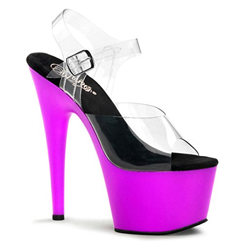 Womens Attractive UV Reactive Purple High Heels Shoe with 7'' Stilettos Size: 8 (Sandals High Stilettos 7' Heels)