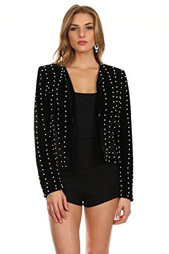 Embellished Velvet Jacket - MeshMe Womens Regal - Black Long Sleeve White Faux Pearl Embellished Velour Velvet Velveteen Plush Blazer Coat Cardigan Jacket Small