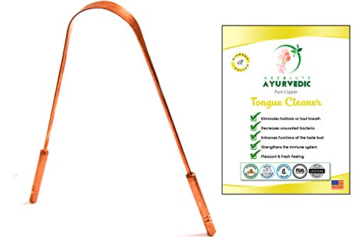 Tongue Scraper Cleaner For Daily Oral Hygiene - Dentist Recommended For Halitosis Treatment, Toxic Removal & Fresh Breath - A Must Have Yoga Essential To Get Benefits Of Copper (Copper Handle)