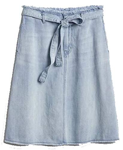 - GAP Womens Light Blue Denim Belted A-Line Frayed Raw Hem Skirt 27/4 Petite