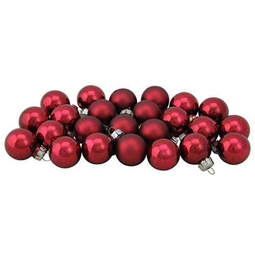 NORTHLIGHT WY00697 Burgundy Red Glass Ball Christmas Ornament Set, 1