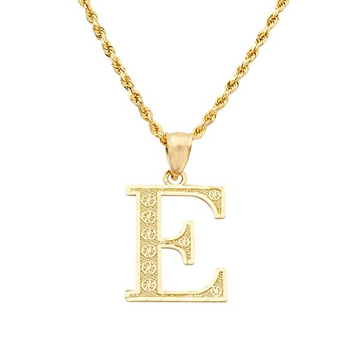 LOVEBLING 10K Yellow Gold Diamond Cut Alphabet Initial Letter Charm Pendant (Large Size) (E) ()