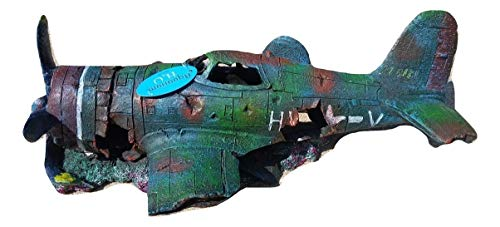 (Military Thunderbolt Fighter Airplane Wreck Aquarium Fish Tank Ornament Decoration, Large in Size)