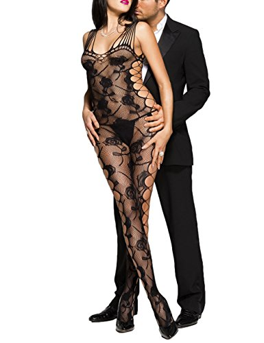 TEZUKAFUJI Sexy Mesh Camisole Lingerie Cut-Out Side Rose Bodystocking For Women Black (Cut Out Bodystocking)