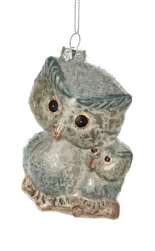 """4"""" Silent Luxury Parent and Baby Owl Blue Glass Christmas Ornament"""