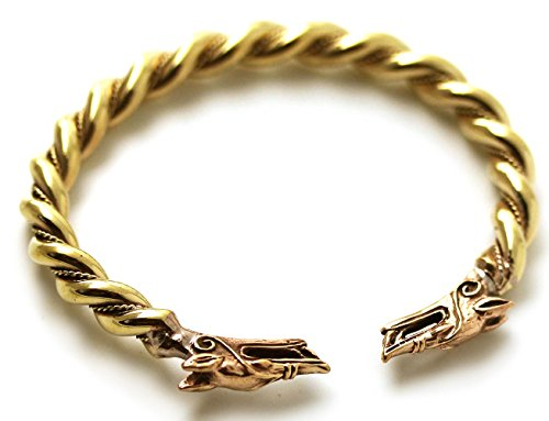 Star Fox Wolf Costume (Bronze Norse Viking Fenrir Wolf Head Twisted Cable Bangle Cuff Bracelet Arm Ring Pagan Jewelry (7.50 inches))