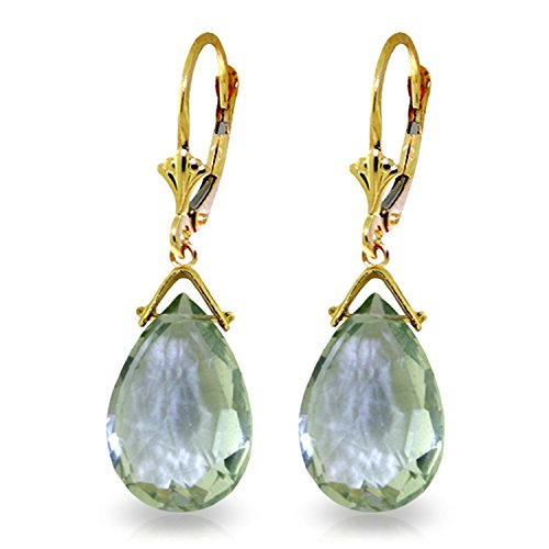 10.2 Carat 14K Solid Gold Leverback Earrings Briolette Green Amethyst