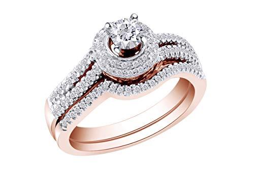 1/2 Carat (Cttw) Round Diamond Bridal Wedding Engagement Ring 14K Rose Gold Band Set Ring Size-11.5