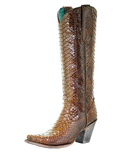 CORRAL A3667 Tan Full Python Boots (8)