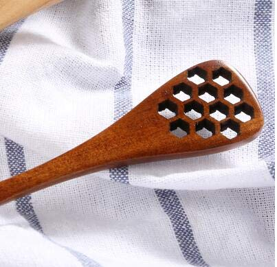 Best Quality - Spoons - Honeycomb Carving wooden Honey Stirring Spoon Honey Jar Mixing Stick long handled spoons Coffee Drink Stirrer Dipper tool - by SeedWorld - 1 PCs -