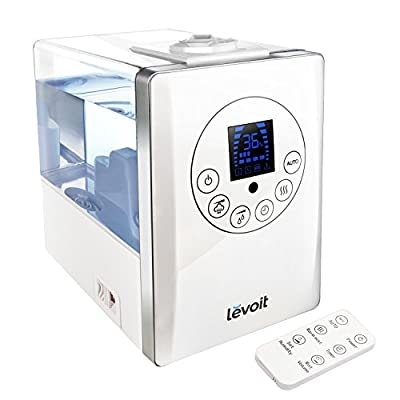 Levoit Cool / Warm Mist Humidifier Ultrasonic Air Vaporizer, Remote Control 6L/1.6 Gallon Capacity/Whisper-quiet with Automatic Shut-off Timer Aroma Essential Diffuser (White)