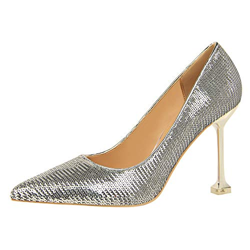 HOESCZS Damenschuhe Wilde 2019 Spitze Spitze Spitze Stiletto Heels Mode Strass Metall Schnalle flachen Mund einzelne Schuhe Frühling neu 703d62