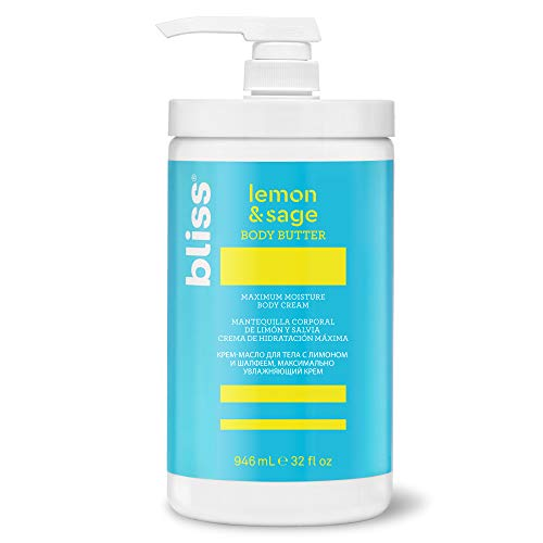 bliss Body Butter | Paraben Free Maximum Moisture Cream | 32 fl. oz. Body Lotion For Dry Skin | Instant Long-Lasting Moisturizer for Women & Men | Lemon & Sage by bliss (Image #1)