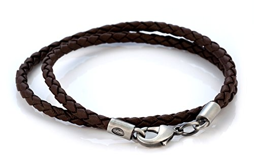 Bico 4mm (0.16 inch) Brown Braided Necklace 16 inch Long (CL