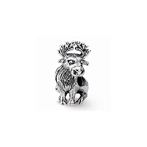 Sterling Silver s Moose Bead by Reflection Beads, Best Quality Free Gift Box (Moose Sampler)