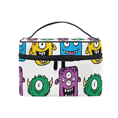HELVOON Funny Colorful Monster Cosmetic Bag Toiletry Travel Makeup Case Handle Pouch Multi-function Organizer for Women ()