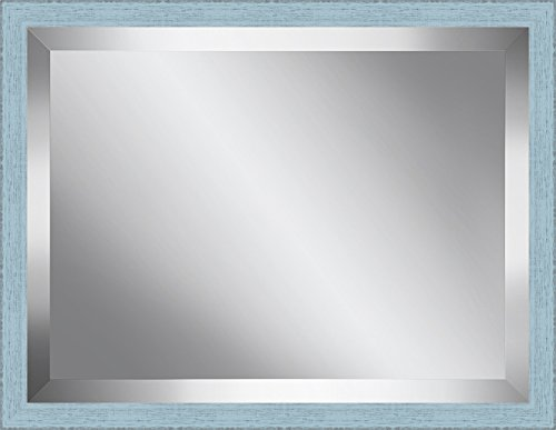 Ashton Art & Décor Sky Blue Washed Wood Framed Beveled Plate Glass Mirror, 24 by 30-Inch by Ashton Art & Decor