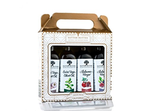 Sutter Buttes Mini Gift Sampler w/Extra Virgin Olive Oil and Aged Balsamic Vinegar (4-60ml Bottles); Premium Collection of Artisan Gourmet Flavored EVOO and Handcrafted Grape Must Reduction Vinegar by Sutter Buttes