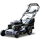 """Long World 161cc 21"""" Deck 3-in-1 Self-Propelled Gas Lawn Mower Gasoline Push Mower and Recoil Starter, OHV Engine, 10-inch High Rear Wheels Drive, Side Discharge Mulching Rear Bag, Black (21inch)"""