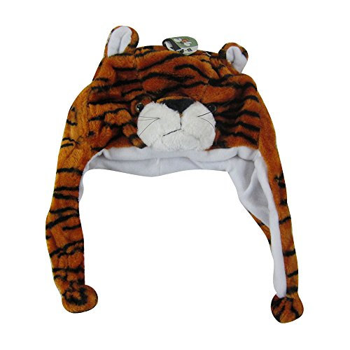 Plush Animal Pom Pom Beanie - Tiger
