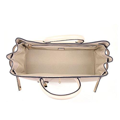 ROUVEN Crème Ivoire pastel beige noisette & Gold ICONE CITY 40 Sac Tote fourre-tout sac en cuir dames Sac cartable noble chic et moderne minimaliste (40x28x19cm)