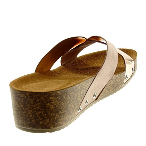 Angkorly Women's Fashion Shoes Sandals Mules - Slip-On - Bi Material - Studded - Cork - Shiny Wedge 4.5 cm Champagne