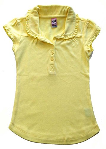 Yellow Uniform (Girl Toppy School Uniform Girls' Short Ruffle Sleeve Top (M, LEMON YELLOW ))