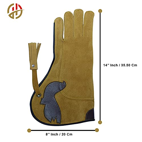 """Falconry Hawk Eagle Gloves a Camel-Brown Unique Soft Cow-Hide Suede Leather for Goshawks, Harris Hawks, Red Tail Hawks up to Big Falcons-Left Hand 14"""" Inch"""