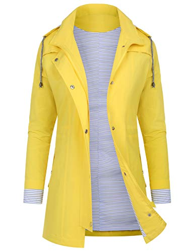 AUDIANO Rain Jackets Women Lightweight Raincoat Striped Lined Waterproof Windbreaker Active Outdoor Hooded Trench Coats Yellow L