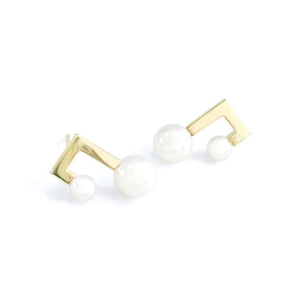 YESLADY Women Girls Earrings,Tiny Musical Note Pearl Stud Earrings