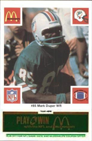 Miami Dolphins - 1986 McDonald's NFL Play & Win Football Cards - Green Tab Team Set of 24 Cards - tabs still attached and unscratched
