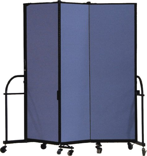 Screenflex Heavy Duty Portable Room Divider (HFSL603-DS) 6 Feet High by 5 Feet 9 Inches Long, Designer Blue Fabric by Screenflex