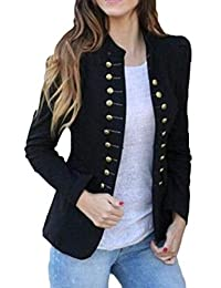 Joe Wenko Women Slim Fit Stand Collar Steampunk Double Breasted Blazer Jacket