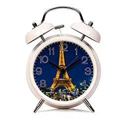 GIRLSIGHT Alarm Clock for Kids Child Retro Silent Pointer Alarm Clock Strong Bedside Tables Cute Loud Alarm Light House Decorations 289.Eiffel Tower, Night, Night City(White)