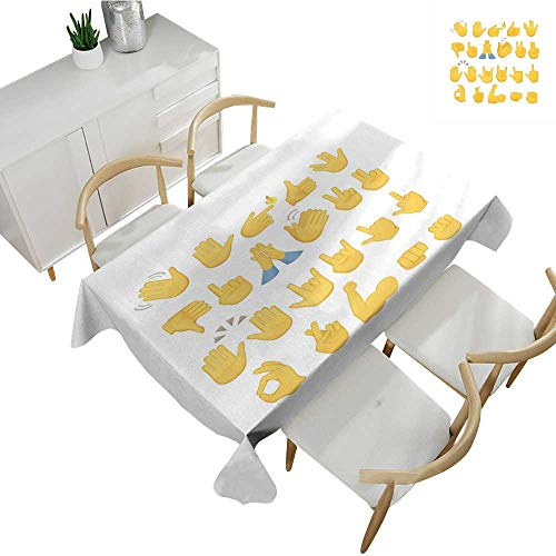 - Warm Family Emoji Decorative Textured Fabric Tablecloth Hand Signs Set Thumbs Down Okay Rock Signal Waving Peace Different Gestures 60
