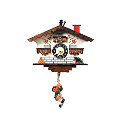 White Cottage and Swinging Boy Cuckoo Clock