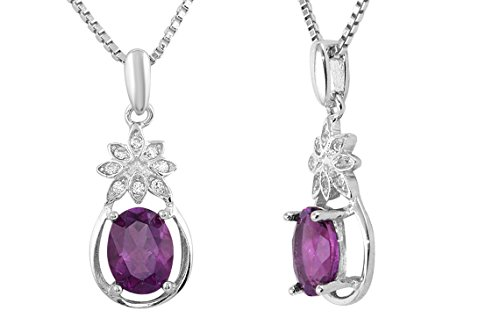 Sterling Silver Cubic Zirconia Natural Amethyst Flower Oval Shaped Gemstone Pendant Necklace 18
