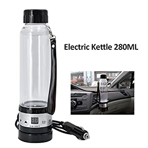 JOYOOO Intelligent Car Electric Kettle 12V , Travel Mugs 280ML ,Powered by cigarette lighter charger base and convenient to use, Fast Boiling Water Heating.