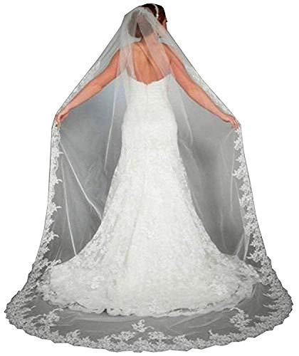 (Doragrace Lace Edge Cathedral Length Long Bridal Wedding Bridal Veil With Comb)