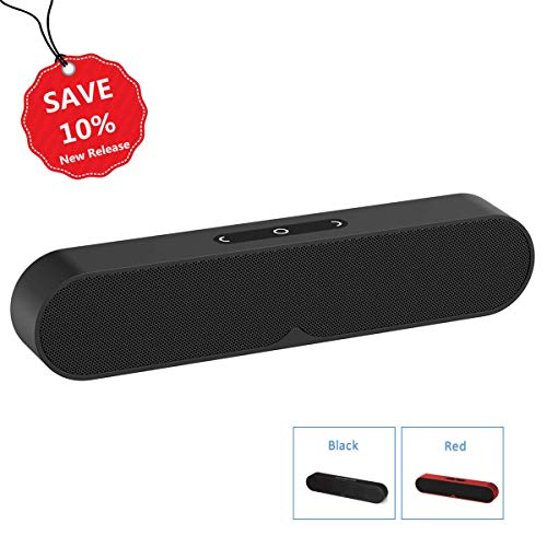 N&M Tech Bluetooth Speakers Portable Wireless Speaker with Subwoofer Wired AUX Mode HiFi Rich Bass for Home Phone TV Computer Outdoor Travel Beach Party Shower Bluetooth 4.2 Stereo Sound (Black) (Wireless Radio Frequency Pc Usb)