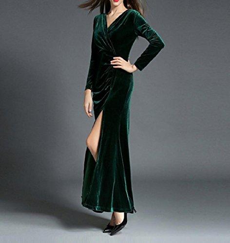 Frauen VAusschnittParteiKleid Velvet ZEZKT Maxi langes Abendkleid ...